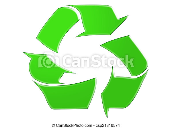 Recycle Symbol Green Recycle Symbol Isolated On White Background