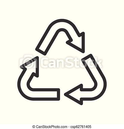 recycle symbol vector illustration icon, line style