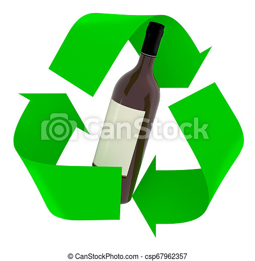 recycle symbol with wine glass bottle