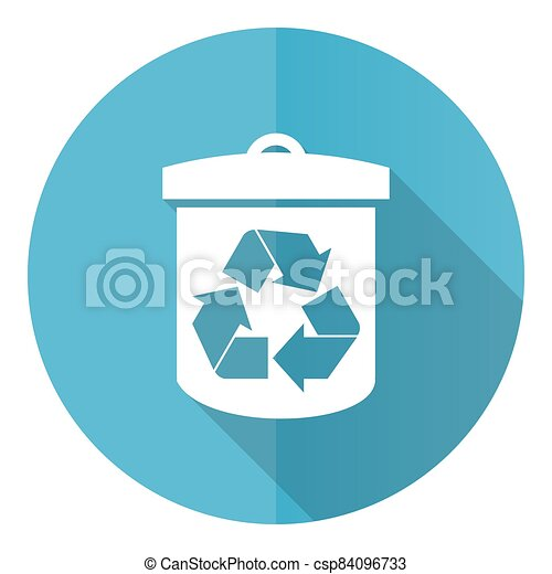 Recycle vector icon, flat design blue round web button isolated on white background - csp84096733