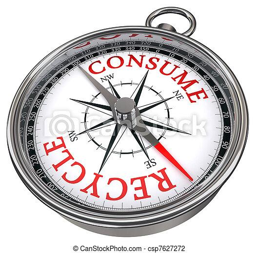 recycle versus consume concept compass - csp7627272