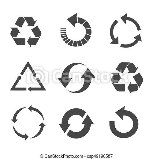 Recycled eco vector icon set - csp49190587