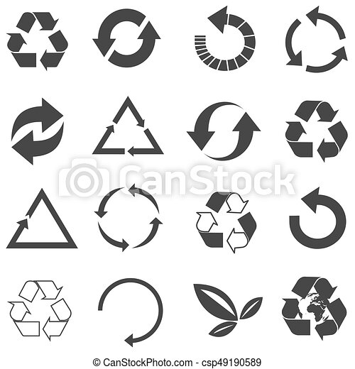 Recycled eco vector icon set - csp49190589
