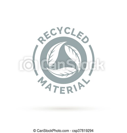 Recycled product material icon design with circular leaves symbol - csp37819294