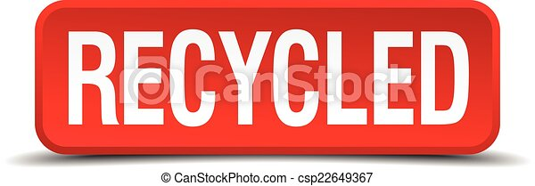 Recycled red 3d square button isolated on white - csp22649367