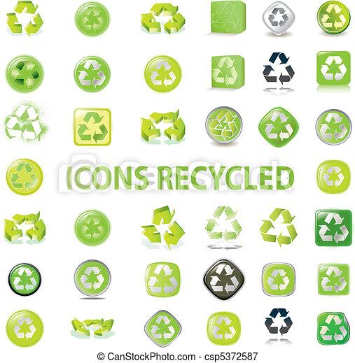 recycler, divers, icônes - csp5372587