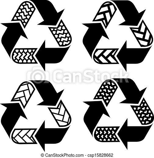 recycler, symboles, vecteur, trace, pneu - csp15828662