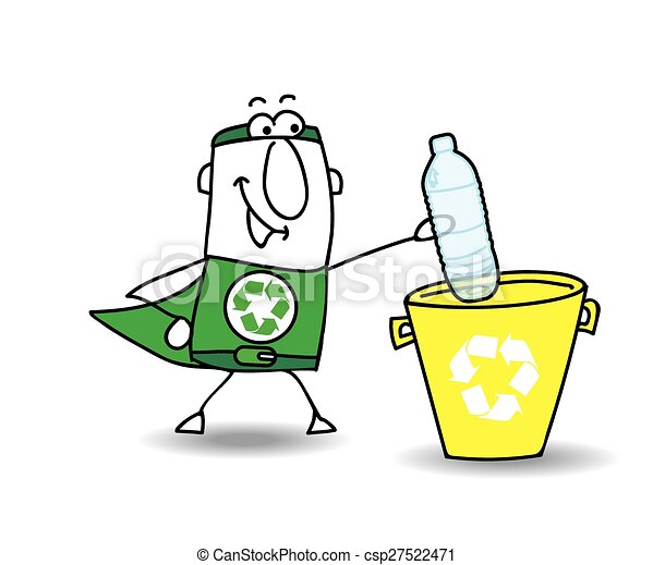 Recycling a plastic bottle with Joe - csp27522471
