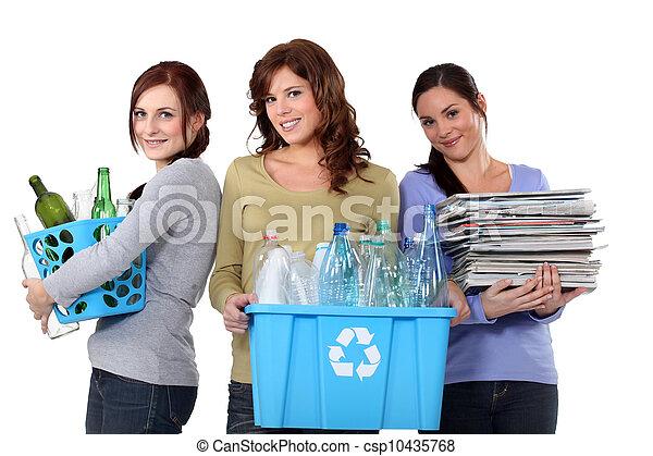 recycling, afval, huiselijk, vrouwen - csp10435768