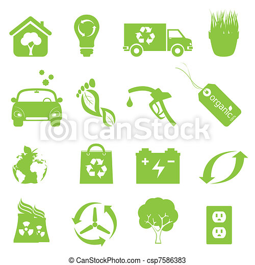 Recycling and clean environment icon set - csp7586383
