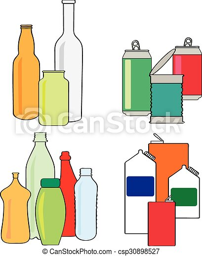 Recycling bottles, cartons, cans . Cartoon style vector ...