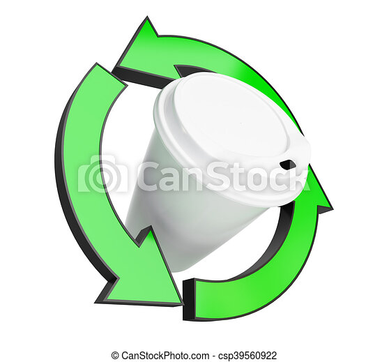 recycling coffee cup on white background. 3d Illustrations - csp39560922
