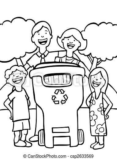 recycling family line art - csp2633569