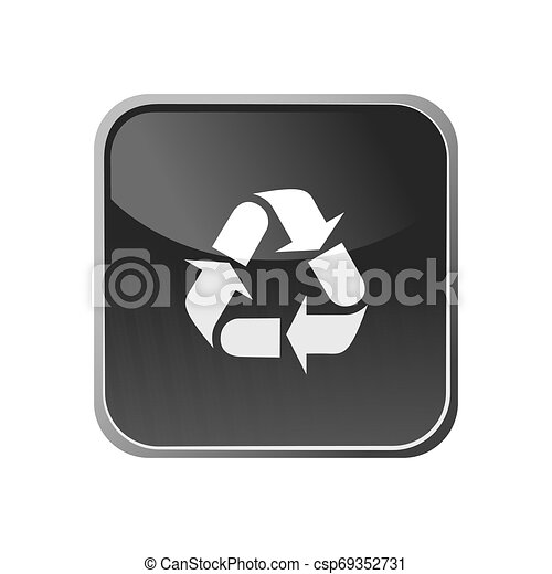Recycling icon on a square button - csp69352731
