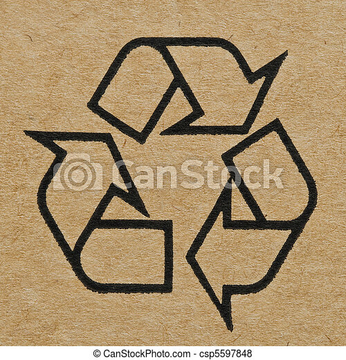 Recycling Mark on the Cardboard - csp5597848