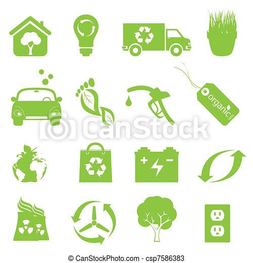 recycling, milieu, set, schoonmaken, pictogram - csp7586383