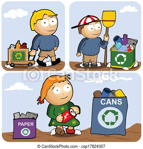 recycling set recycling vector illustration set kids are rh canstockphoto com recycling clipart black and white recycling clip art black and white