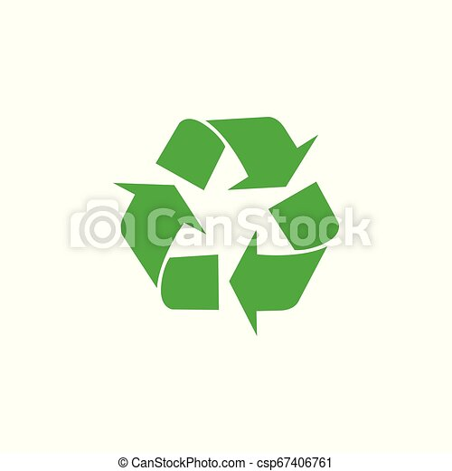 Recycling sigh, icon. Vector flat illustration. Green on white background. - csp67406761