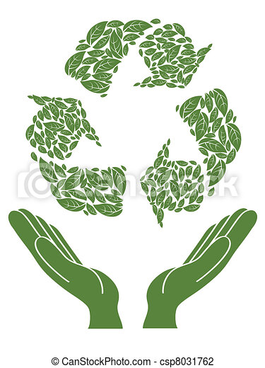 recycling sign above hand - csp8031762