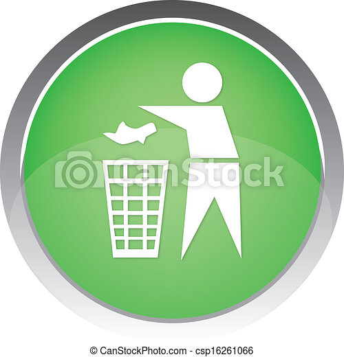 Recycling Sign Button Icon - csp16261066