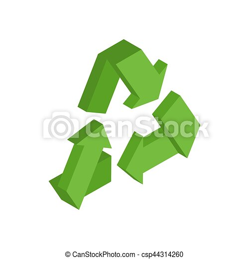 Recycling sign. Green recast symbol. Running emblem isolated - csp44314260