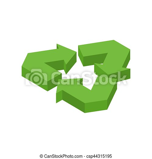 Recycling sign. Green recast symbol. Running emblem isolated - csp44315195