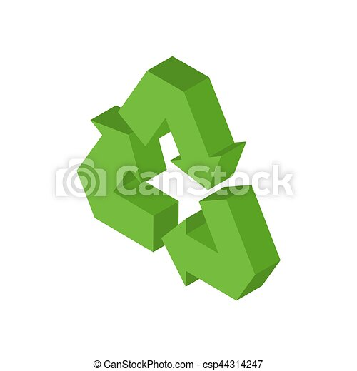 Recycling sign. Green recast symbol. Running emblem isolated - csp44314247