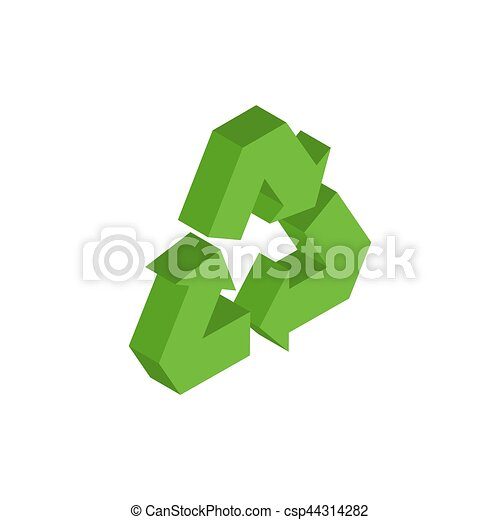 Recycling sign. Green recast symbol. Running emblem isolated - csp44314282