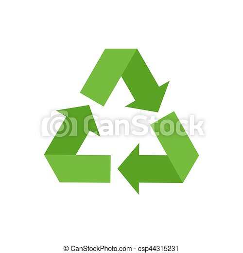 Recycling sign. Green recast symbol. Running emblem isolated - csp44315231