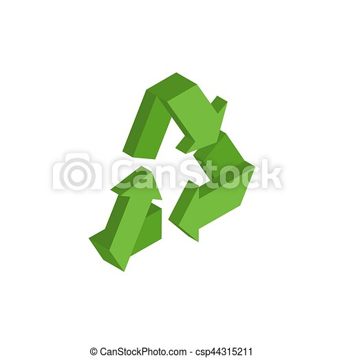 Recycling sign. Green recast symbol. Running emblem isolated - csp44315211