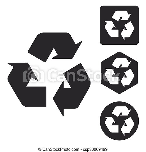 Recycling sign icon set, monochrome - csp30069499