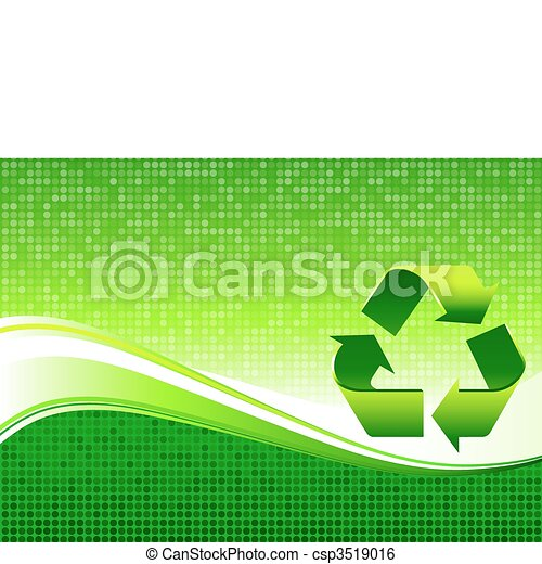Recycling sign on Green Environmental Conservation Background - csp3519016