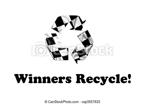Recycling Symbol A F1 Flag With Checkered Pattern In The Shape Of