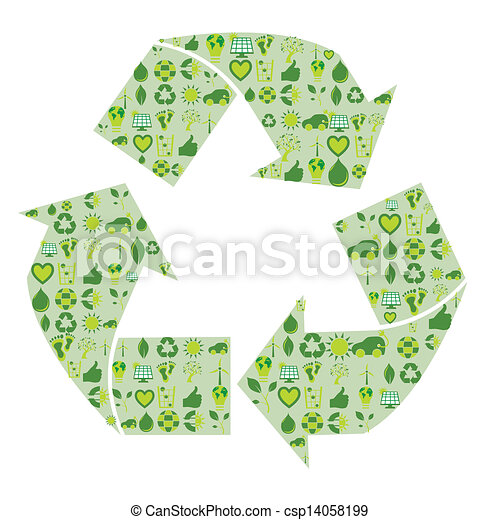 Recycling symbol filled with bio eco environmental related icons and symbols - csp14058199