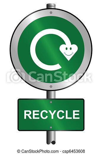 recycling symbol sign  - csp6453608
