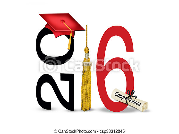red 2016 graduation cap and tassel - csp33312845