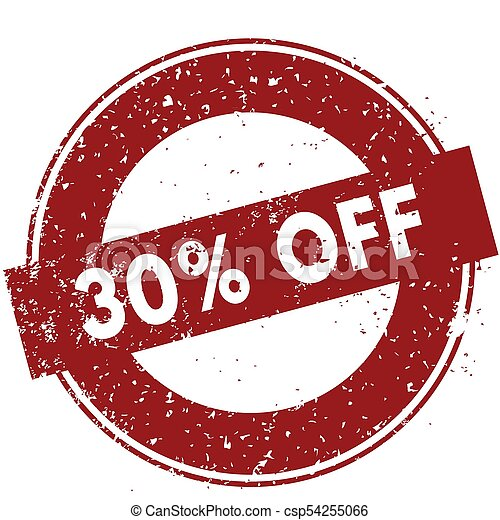 Red 30 PERCENT OFF rubber stamp illustration on white background - csp54255066