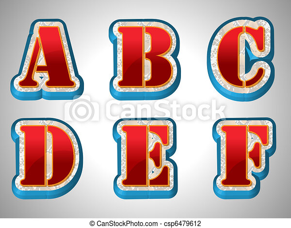Red 3D Alphabet With Big Font Style - csp6479612