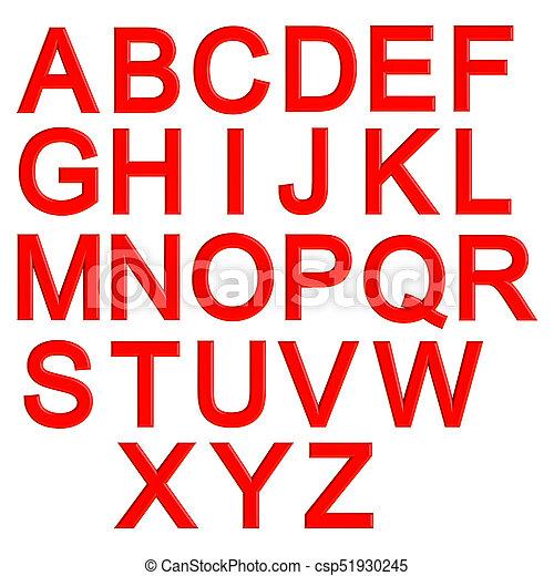 red 3d letters alphabet lettering 3d illustration