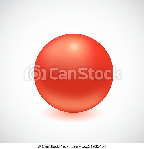 Red 3D sphere isolated on white. - csp31935454