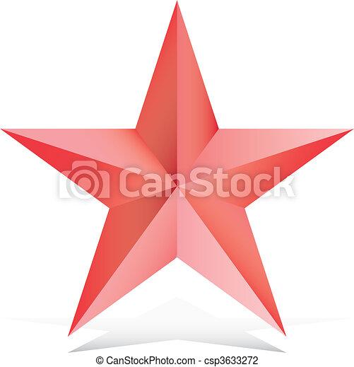 Red 3d star illustration - csp3633272