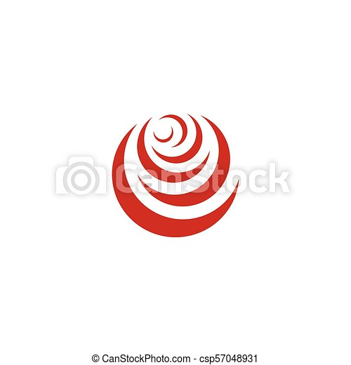 Red abstract rose, vector logo template on white background. Stylish flower illustration, circular shape, arc design element. - csp57048931