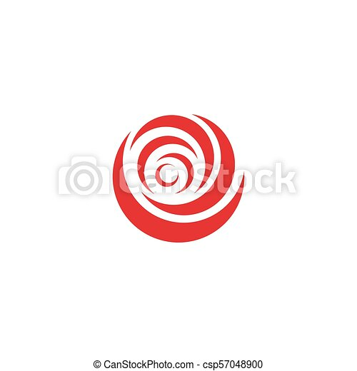 Red abstract rose, vector logo template on white background. Stylish flower illustration, circular shape, arc design element. - csp57048900