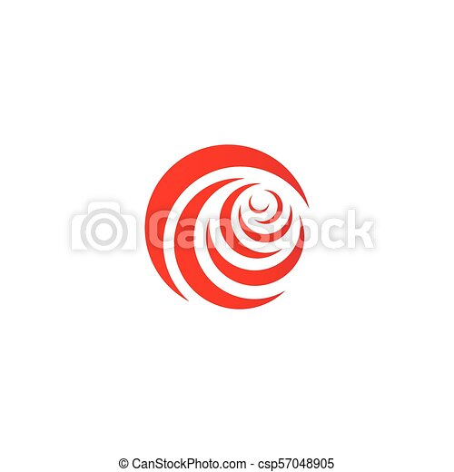 Red abstract rose, vector logo template on white background. Stylish flower illustration, circular shape, arc design element. - csp57048905