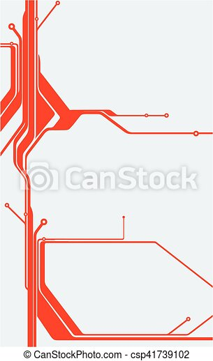 Red abstract technology circuit board vector background.