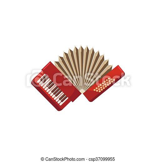 Red accordion icon, cartoon style - csp37099955