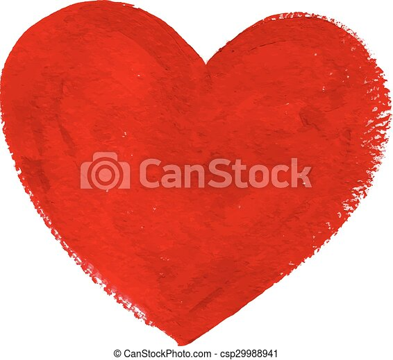 Red acrylic color textured painted heart - csp29988941