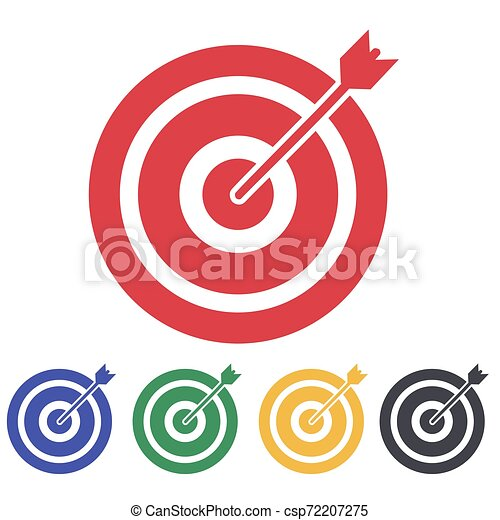 red aim arrow idea concept perfect hit winner target goal icon success abstract pin logo https www canstockphoto com red aim arrow idea concept perfect 72207275 html