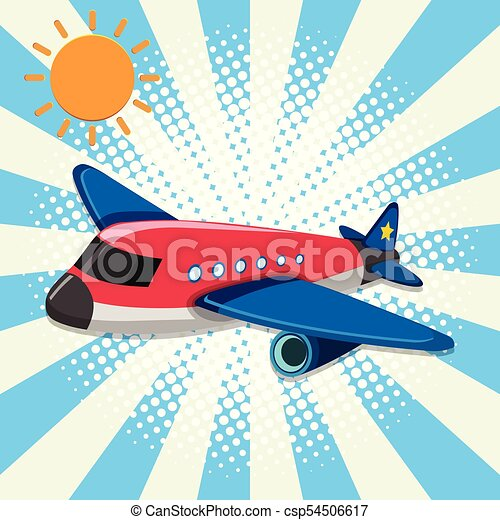 Red airplane flying in sky - csp54506617