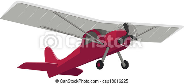 red airplane isolated on white background - csp18016225